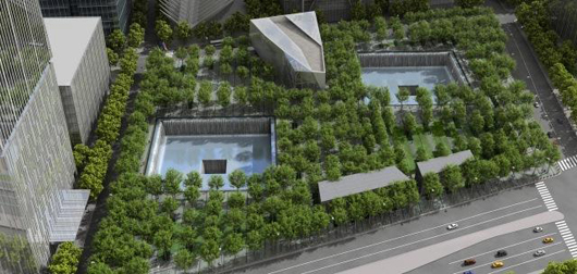 An artist's rendition of Reflecting Absence, the above ground part of the under construction National September 11 Memorial & Museum. Fair use of image whose copyright belongs to Squared Design Lab.