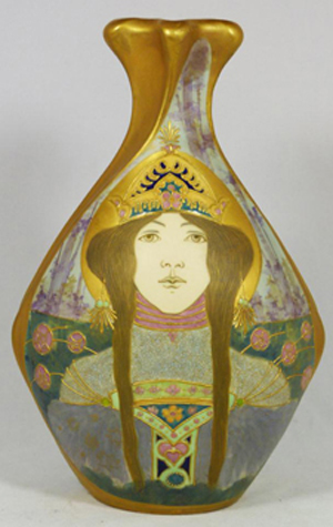 Teplitz amphora portrait vase depicting a woman, made circa 1899-1905 (est. $4,000-$6,000). Image courtesy of Elite Decorative Arts.