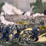 Circa-1863 Currier & Ives lithograph The Battle of Gettysburg.