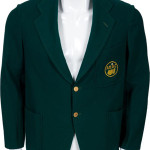 Green jacket that belonged to Bobby Jones, co-founder of the Masters Tournament and Augusta National Golf Club. Auctioned for $310,700 in an Aug. 4, 2011 sale conducted by Heritage Auction Galleries. Image courtesy of Heritage Auction Galleries.