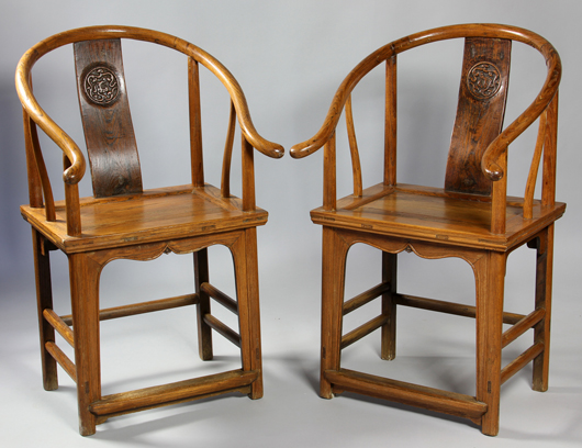 Elegant Pair Of Huanghuali Chairs, China, Late 19th/early 20th Century, With Carved