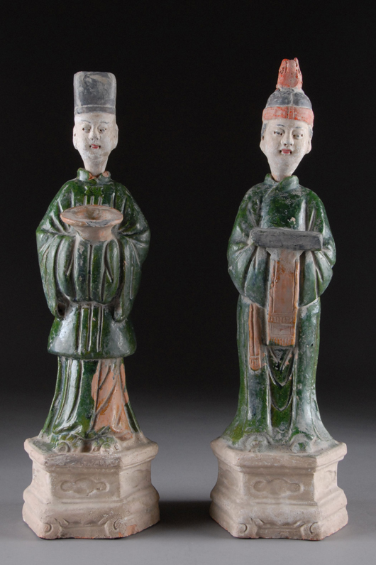 Pair of Tang-style green-glaze pottery figures, $300-$600. Langley Scott image.