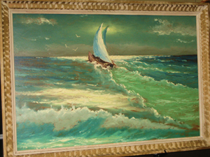 A very rare scene by Highwayman artist Sam Newton. Image courtesy of the West Palm Beach Antiques Festival.