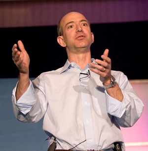 Amazon founder Jeff Bezos delivering his 'High Order Bit' presentation on March 15, 2005. Photo by James Duncan Davidson, licensed under the Creative Commons Attribution 2.0 Generic license.