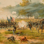 A Louis Prang and Co. chromolithograph depicts the charge of Iron Brigade near the Dunker Church during the Battle of Antietam. Image courtesy of Wikimedia Commons.