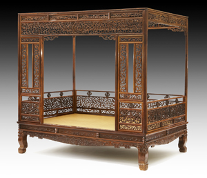 Rare Chinese Qing Huanghuali six-post canopy bed with carved panels Estimate $800000- & Dallas Auction Gallery opens fall with Asian sale Sept. 7-8