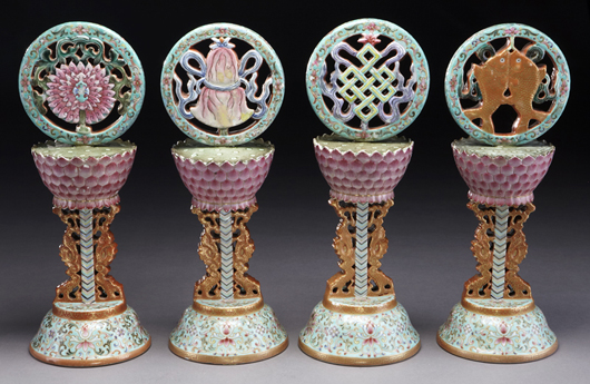 Four Chinese Qing famille rose porcelain altar pieces, marked for Qianlong. Estimate: $50,000-$70,000.