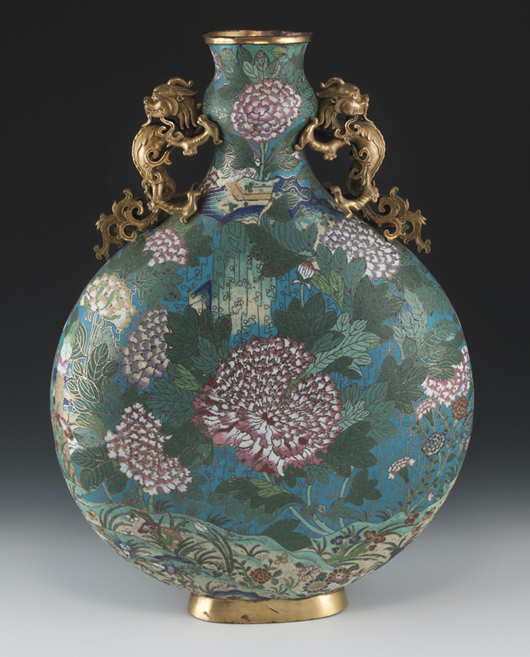 Large Chinese Qing Qianlong cloisonné moon flask depicting peony blossoms, each side with gilt bronze dragon handles. Estimate: $40,000-$50,000. Image courtesy of Dallas Auction Gallery.