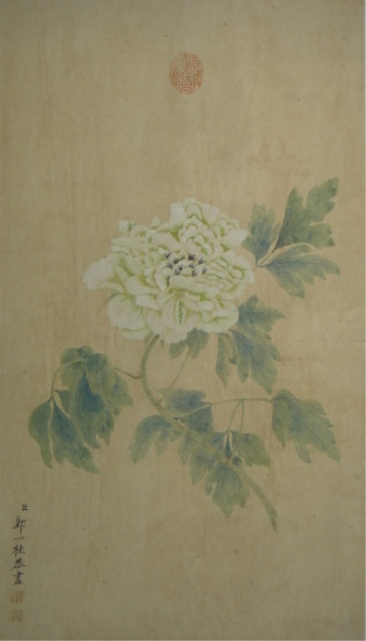 This Chinese hanging scroll, painted with watercolor on paper by Yen Ee Guay (元用) dates to the 18th or 19th century. Illustrating white chrysanthemum with green leaves, it is inscribed and signed with one artist seal and marked with the red seal of Qianlong. It is expected to fetch over $8,000. Image courtesy of 888 Auctions.