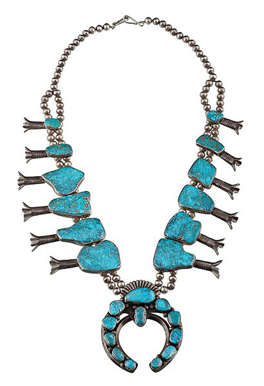 Mark Chee Navajo silver and no. 8 turquoise squash blossom. Estimate: $7,000-$9,000. Image courtesy of Cowan's Auctions Inc.