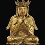 Rare, finely cast gilt-bronze figure of Vairocana, Ming dynasty, 16th century, 20 1/4 inches high. Estimate: $600,000-$800,000. Image courtesy of Christie's New York.
