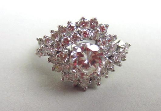 Diamond And Platinum Ring, 2.25CTW. Estimate $1,800-$2,400. Image courtesy of Leighton Galleries.