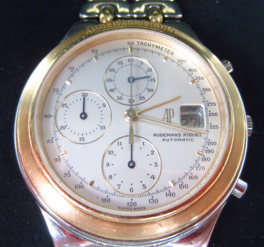 Audemars Piguet 18k & Stainless Chronograph Watch. Estimate $3,000-$4,000. Image courtesy of Leighton Galleries.