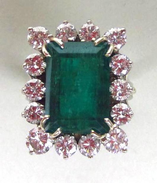 Emerald and Diamond Ring, 9.76CTW. Estimate $3,000-$5,000. Image courtesy of Leighton Galleries.