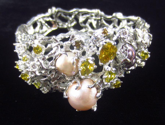 Pearl And Yellow Diamond Bracelet By Arthur King Estimate 5 000 7