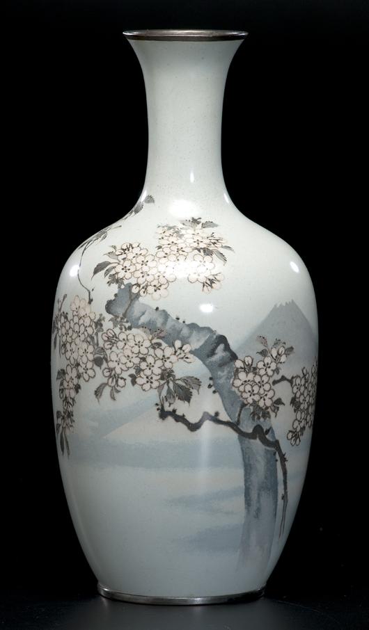 Japanese cloisonné vase, 16 inches: $19,200. Image courtesy of Cowan's Auctions.