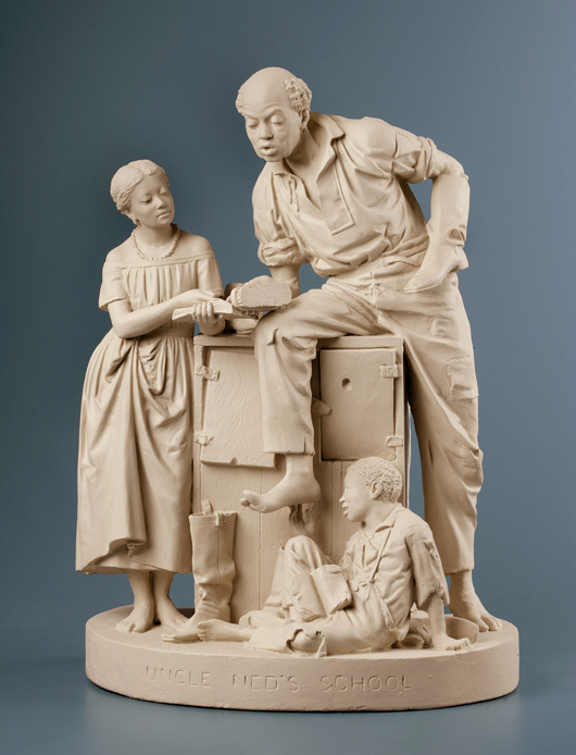 'Uncle Ned's School,' designed in 1866, depicts a black workman and young relatives learning to read, a skill denied to slaves before emancipation. An edition of this design is part of the collection offered at Fontaine's. Image courtesy of New-York Historical Society.