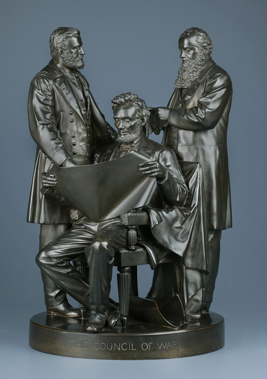 'The Council of War,' an 1868 group with President Lincoln flanked by Gen. Ulysses S. Grant and Secretary of War Edwin Stanton, was a popular subject. Rogers produced multiple plaster editions from a master bronze. Image courtesy of New-York Historical Society. Courtesy New-York Historical Society.