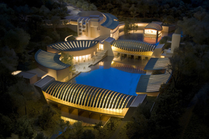 Night shot of the architectural model of the Crystal Bridges Museum of American Art in Bentonville, Arkansas. Image courtesy of the Crystal Bridges Museum of American Art. Read more: https://www.liveauctioneers.com/news/index.php/component/content/article/55-museums/5162-walmart-donates-20m-to-crystal-bridges-museum-to-sponsor-admission#ixzz1Wcn1mZij
