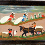 A genuine Clementine Hunter painting on board, circa 1960s, titled Pickin' & Haulin' Cotton. Auctioned by Slotin's for $21,600 on April 26, 2008. Image courtesy of LiveAuctioneers.com archive and Slotin Folk Art.