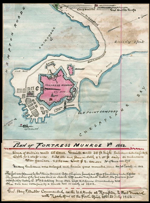 Pen and ink hand-drawn map of Fort Monroe, Va., 1862. Image courtesy of Wikimedia Commons.
