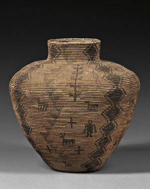 Apache pictorial coiled basketry olla, circa 1900, est. $3,000-$5,000. Image courtesy of Skinner Inc.