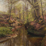 Peder Mørk Mønsted, 'Spring in the Woods near Sæby,' 1912, oil on canvas, 49 1/4 x 32 inches. Image courtesy of Schmidt Fine Art Auctions Dresden.