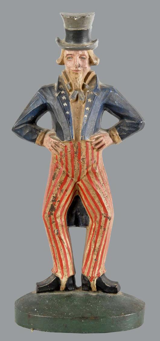 Cast-iron Uncle Sam doorstop, $11,400. Morphy Auctions image.