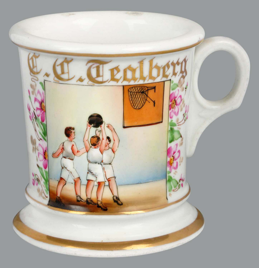 Early occupational shaving mug with basketball theme, $12,600. Morphy Auctions image.