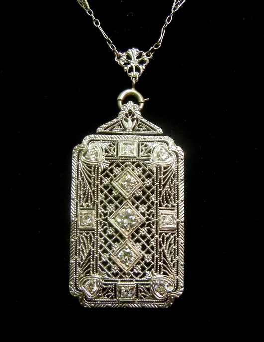 Finely Filigreed Diamond Pendant From The Final Inventory Of William Glatz Jewelers Lawndale