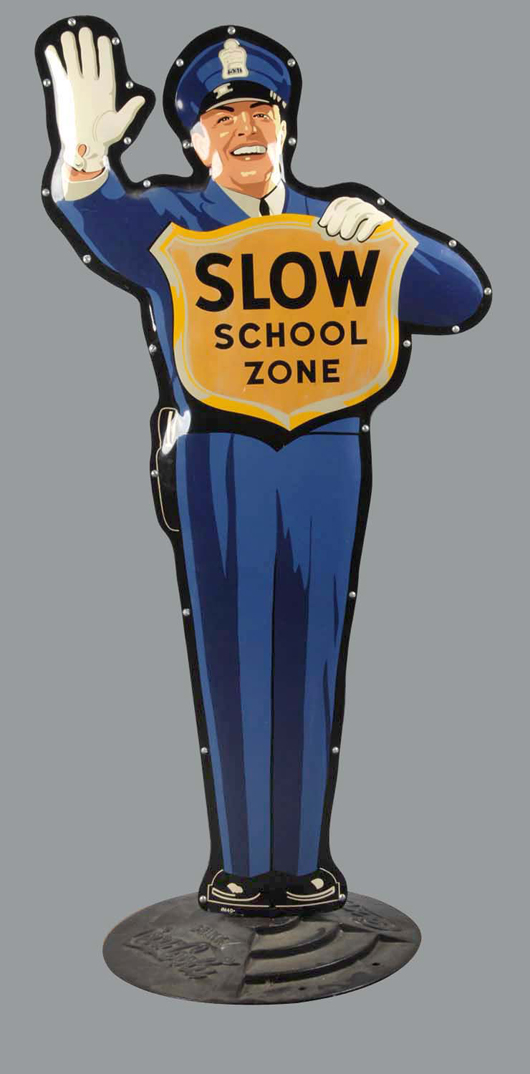 Coca-Cola double-sided metal figure of school crossing guard, $5,400. Morphy Auctions image.