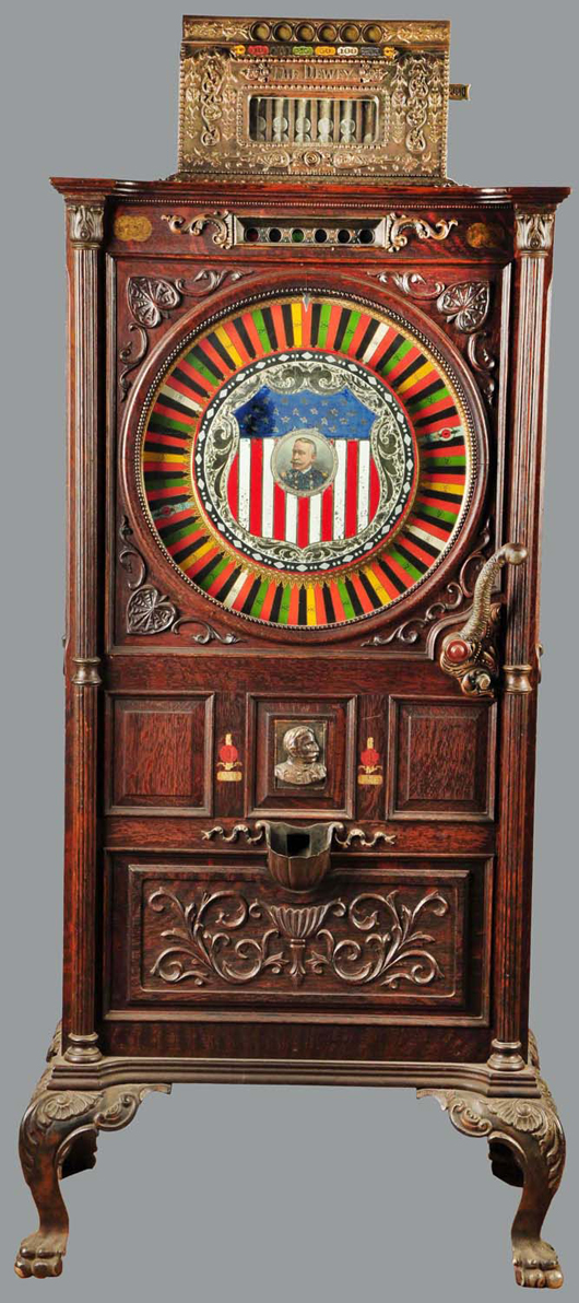 Mills 5-cent Dewey upright slot machine with original reverse-on-glass façade, $21,000. Morphy Auctions image.
