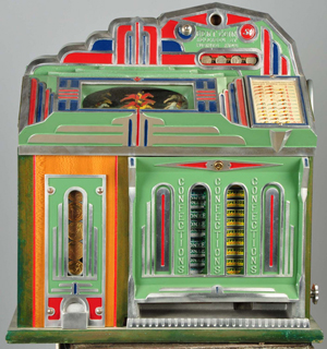 Superior 5-cent Horse Race slot machine and confectionary dispenser, top lot of the sale, $36,000. Morphy Auctions image.