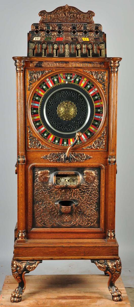 Caille Centaur upright slot machine, $24,000. Morphy Auctions image.