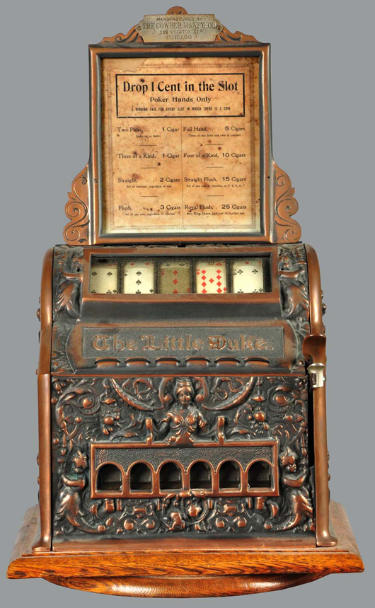 Cast-iron Mills Little Duke poker machine, $32,400. Morphy Auctions image.