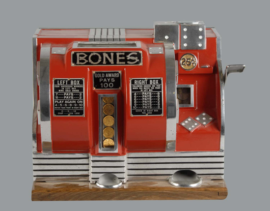 Buckley 'Bones' 25-cent dice slot machine, $19,200. Morphy Auctions image.