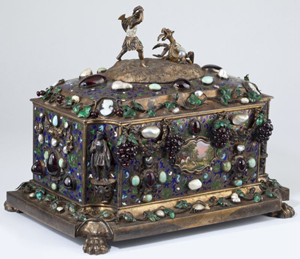 Important French parcel gilt and gem set jewel casket, with the mark for Paul Rigaux and Pierre Leblanc. Estimate: $20,000-$40,000. Image courtesy of Leland Little.