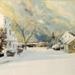 Rare original Peter Sculthorpe watercolor painting of a winter landscape scene of the corner of Providence and Goshen roads, Willistown Township, Pa. Estimate: $5,000-$7,000. Image courtesy of Wiederseim Associates Inc.