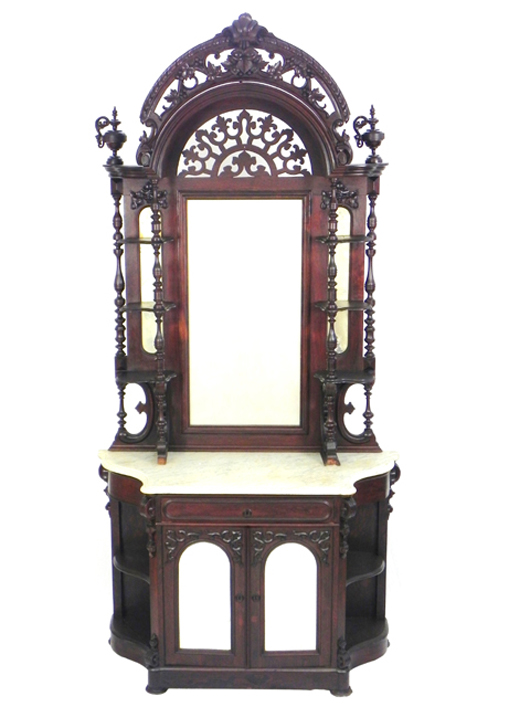 Victorian carved rosewood marble-top etagere parlor cabinet, circa 1860. Estimate: $1,500-$2,500. Image courtesy of Crescent City Auction Gallery.