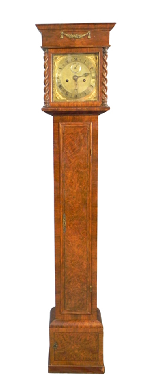 This rare, diminutive buried walnut tall-case clock by Joseph Knibb could hit $20,000-$40,000. Image courtesy of Crescent City Auction Galery. Image courtesy of Crescent City Auction Gallery.