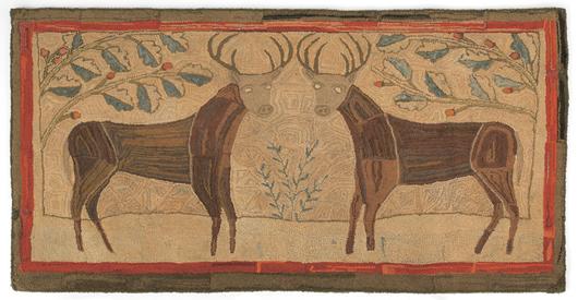 American folk art hooked rug, 19th century, 65 x 35 1/2 inches, provenance: Bill Samaha. Estimate: $5,000-$10,000. Image courtesy of Pook & Pook Inc.