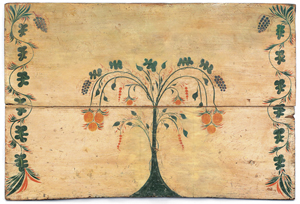 Rare Connecticut painted pine fireboard, attributed to Stimp, circa 1800, 29 1/2 inches high x 43 3/4 inches wide. Estimate: $8,000-$12,000. Image courtesy of Pook & Pook Inc.