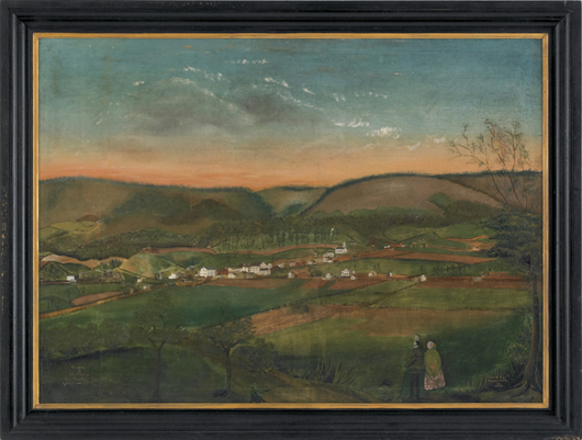 Pennsylvania oil on canvas folk art landscape depicting a couple overlooking a town amongst rolling hills, inscribed 'Property of John P. Sucese Troy, Pa. Painted by Henry Wells in 1850,' 34 1/2 x 47 inches. Estimate: $5,000-$7,000. Image courtesy of Pook & Pook Inc.