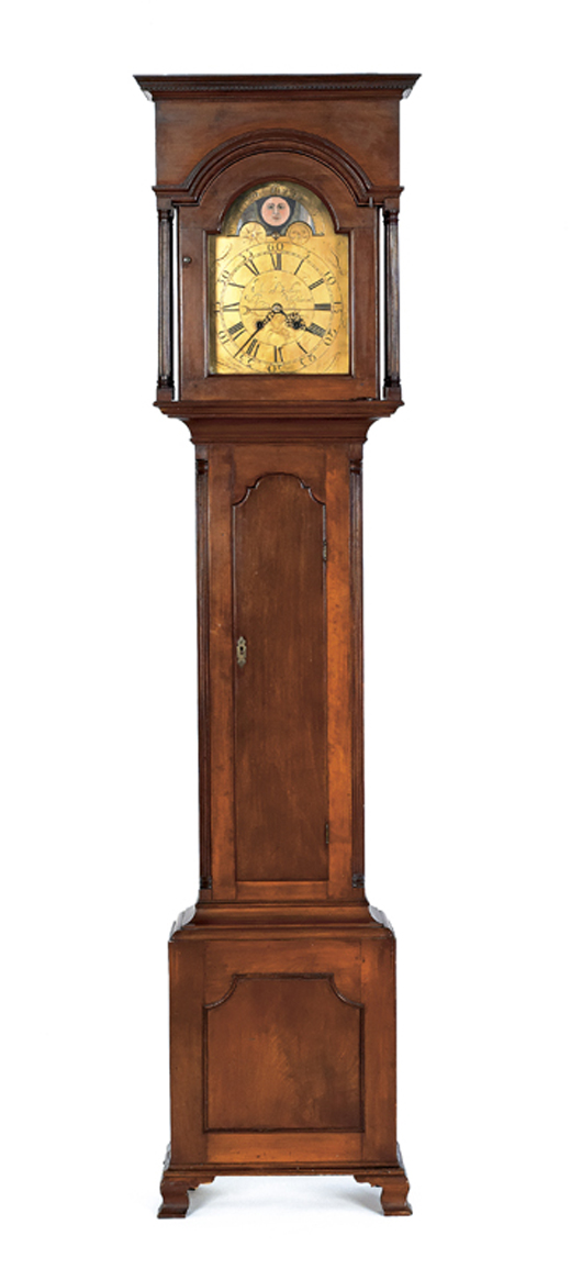 Chester County Chippendale cherry tall-case clock, ca. 1780, eight-day movement with brass face inscribed 'Eli Bentley West Whiteland,' 95 inches high. Estimate: $8,000-$12,000. Image courtesy of Pook & Pook Inc.