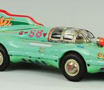 Tinplate No. 58 Atom Jet friction racecar, est. $6,000-$8,000. Bertoia Auctions image.
