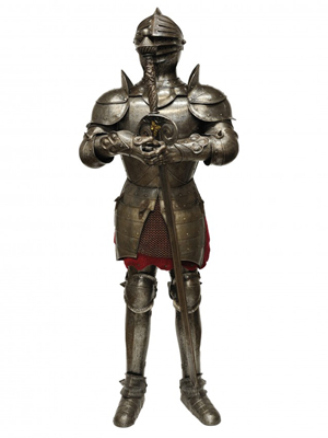 Medieval-style steel and chain mail suite of armor. Estimate: $2,000-$3,000. Image courtesy of Morton Kuehnert Auctioneers.