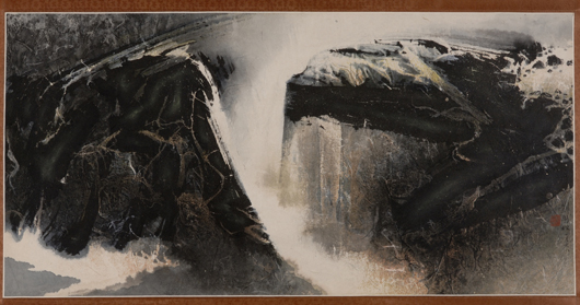 Painting, Liu Guosong (b. 1932), ink rubbing and light colors on paper, 'Abstract Landscape,' signed 'Liu Guosong,' dated 1968, mounted in hanging scroll format, framed and glazed, 17 3/4 x 35 1/2 inches. Estimate $8,000-10,000. Image courtesy of Skinner Inc.