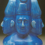 """Stephen used a brilliant turquoise glaze, not unlike that found on Egyptian faience, for his most dramatic pieces. This massive triple-faced bust—dubbed the """"Blue Man Group""""—can be seen in the current exhibition, 'Pisgah Forest & Nonconnah Pottery,' at the Memphis Brooks Museum of Art. Image courtesy of Memphis Brooks Museum of Art"""