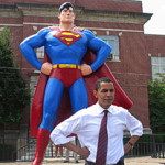 Then U.S. Sen. Barack Obama poses in front of the Superman statue in downtown, Metropolis, Ill., in August 2006. Metropolis is the superhero's hometown. Image courtesy of Wikimedia Commons.