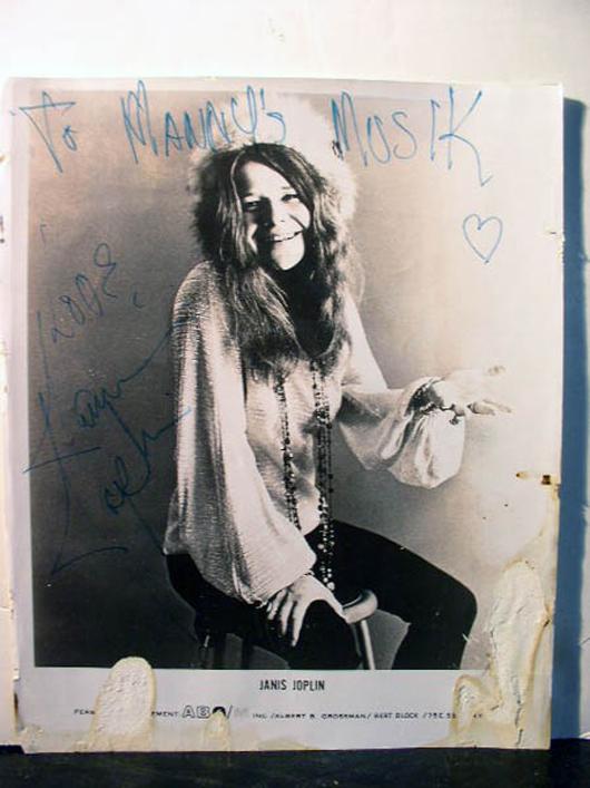 Janis Joplin photograph, 8 x 10 inches. Inscription reads: 'To Manny's Musik Love, Janis Joplin.' Est. $3,000-$4,000. Guernsey's image.